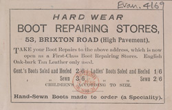 Advert for the Hard Wear Boot Repairing Stores, reverse side